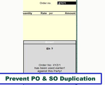 Prevent PO & SO Duplication